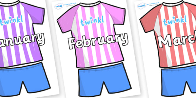 Months of the Year on Football Strip - Months of the Year, Months poster, Months display, display, poster, frieze, Months, month, January, February, March, April, May, June, July, August, September