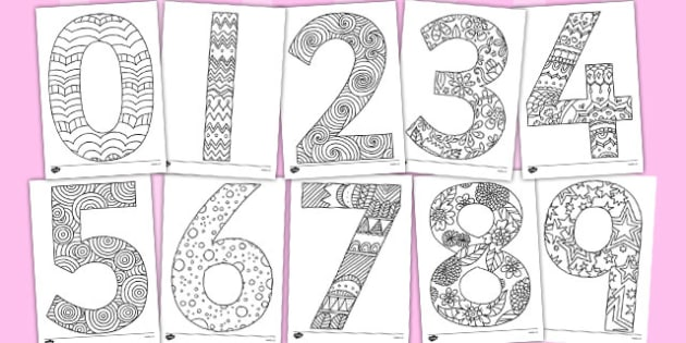 Adult Colouring Mindfulness Colouring Numbers - mindfulness, colouring, numbers, adult colouring