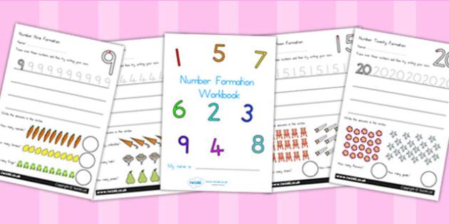 Number Formation Workbook 0 20 - number formation, motor skills