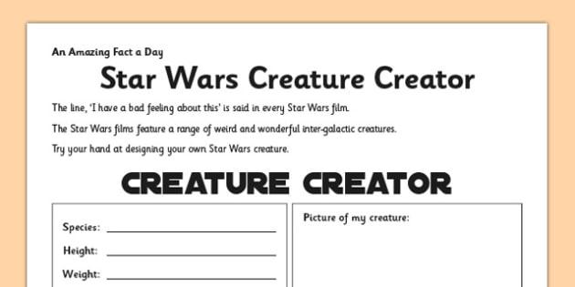 Star Wars Creature Creator Activity Sheet - star wars, design, creature, fact of the day, activity, worksheet