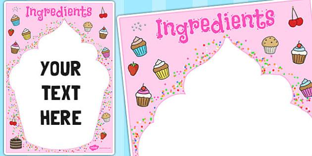 Ingredients Cupcake Themed Editable Notes - edit, baking, cakes