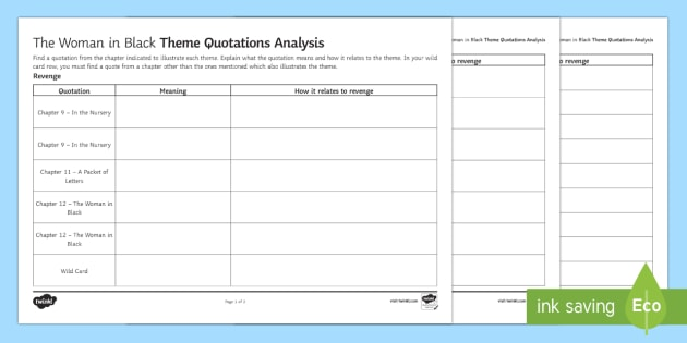 Themes and Quotations Analysis Grid Activity - The Woman in Black