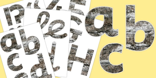 Bark Texture Display Letters and Numbers Pack - bark, display, letters, numbers