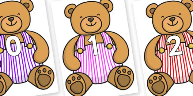 Numbers 0-31 on Dugaree Teddy - 0-31, foundation stage numeracy, Number recognition, Number flashcards, counting, number frieze, Display numbers, number posters