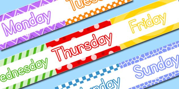 Days of the Week Display Borders - display, borders, days, week