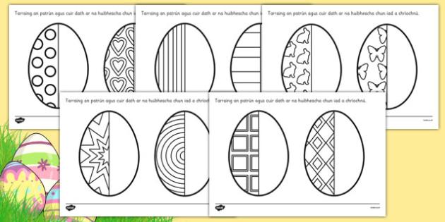 Easter Egg Symmetry Sheets Gaeilge - roi, republic, ireland, irish, maths, pattern, symmetrical, mirror, compelte, eggs, event, spring