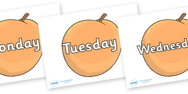 Days of the Week on Giant Peach to Support Teaching on James and the Giant Peach - Days of the Week, Weeks poster, week, display, poster, frieze, Days, Day, Monday, Tuesday, Wednesday, Thursday, Friday, Saturday, Sunday