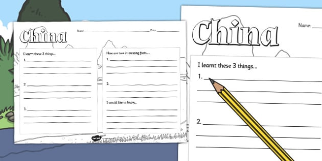 China Topic Write Up Worksheet - china, write up, worksheet