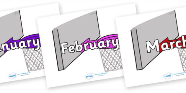 Months of the Year on Basketball Hoops - Months of the Year, Months poster, Months display, display, poster, frieze, Months, month, January, February, March, April, May, June, July, August, September