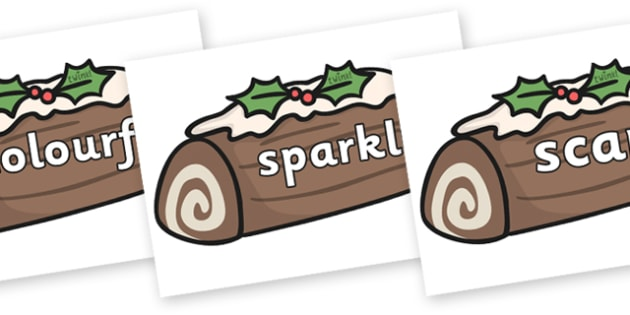 Wow Words on Christmas Logs - Wow words, adjectives, VCOP, describing, Wow, display, poster, wow display, tasty, scary, ugly, beautiful, colourful sharp, bouncy