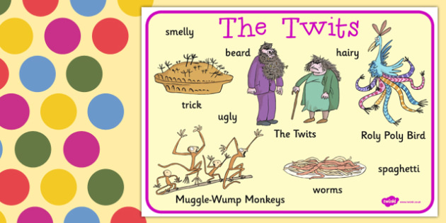 Word Mat to Support Teaching on The Twits - word mat, the twits, roald dahl, book, mat