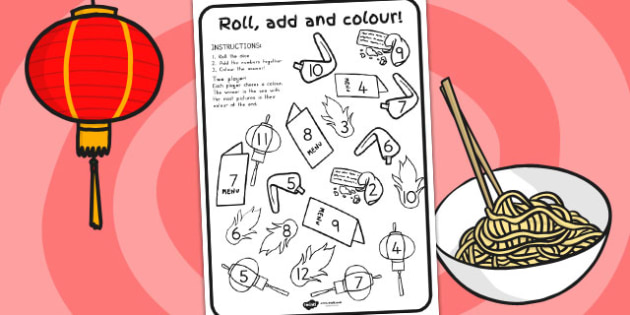 Chinese New Year Roll and Colour Worksheet - australia, colour