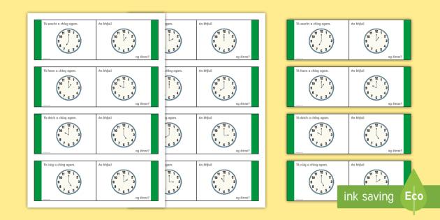 Time, O'Clock Loop Cards - Gaeilge - Requests - ROI, Irish, Gaeilge, time, clocks, o'clock, an t-am, am, clog, an chlog, loop game,Irish