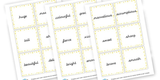 Adjective Word Cards - KS2 Adjectives Primary Resources, Adjectives, Word Types, Words