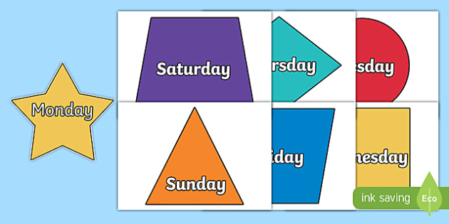 Days of the Week on 2D Shapes - days, weeks, 2D, shapes, 2D shape