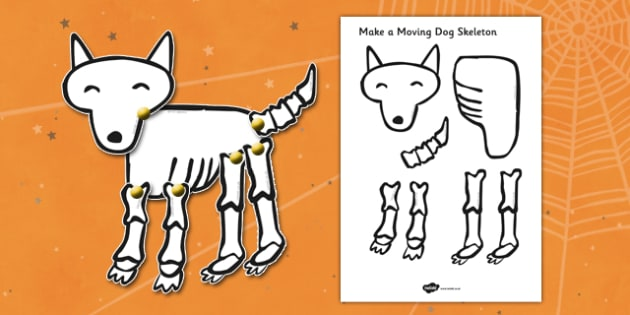 Make a Moving Dog Skeleton Cutting Activity (A4) to Support Teaching on Funnybones - Funny Bones, Janet and Alan Ahlberg, story, story book, story book resources, story sequencing, story resources, skeleton, our body, all about me,
