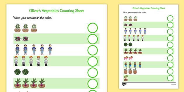 Oliver's Vegetables Counting Sheet - Oliver's vegetables, counting