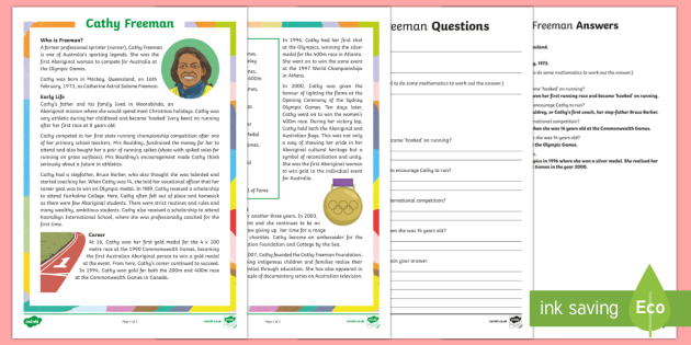 Famous Indigenous Australians - Cathy Freeman Differentiated Reading Comprehension Activity-Australia - Famous Indigenous Australians, Australian, Aboriginal, Indigenous, Influential, Cathy Freeman, Freem