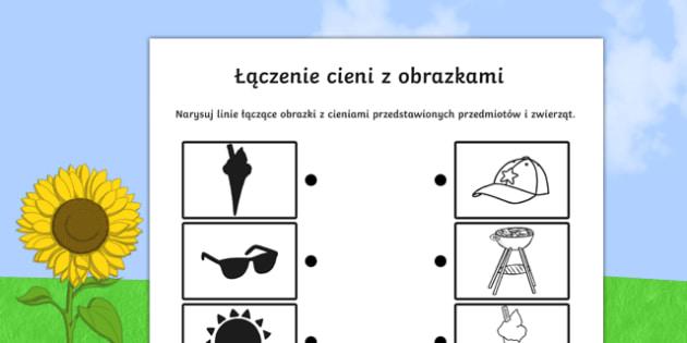 Karta Łączenie obrazków z cieniami po polsku , worksheet