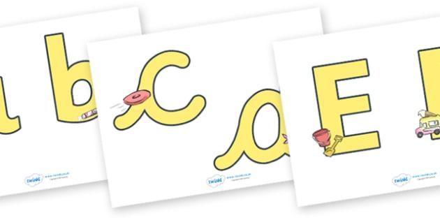 Display Lettering & Symbols (Summer) - Display lettering, display letters, alphabet display, letters to cut out, letters for displays, coloured letters, coloured display, coloured alphabet, beach, sun, flowers, ice cream, sea, seaside