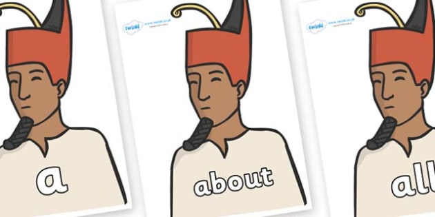100 High Frequency Words on Egyptian Kings - High frequency words, hfw, DfES Letters and Sounds, Letters and Sounds, display words