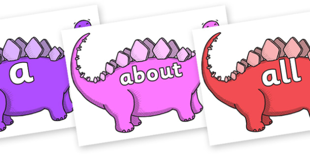 100 High Frequency Words on Stegosaurus - High frequency words, hfw, DfES Letters and Sounds, Letters and Sounds, display words