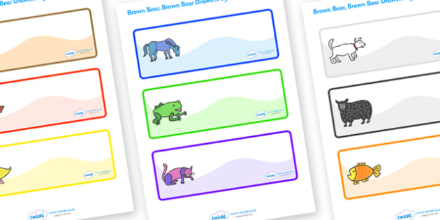 Editable Drawer-Peg-Name Labels (Multi-Colour) to Support Teaching on Brown Bear, Brown Bear - Brown Bear, Brown Bear, Bill Martin,  red bird, yellow duck, blue horse, green frog, purple cat, colours, animals, animal names, story, story book, story b