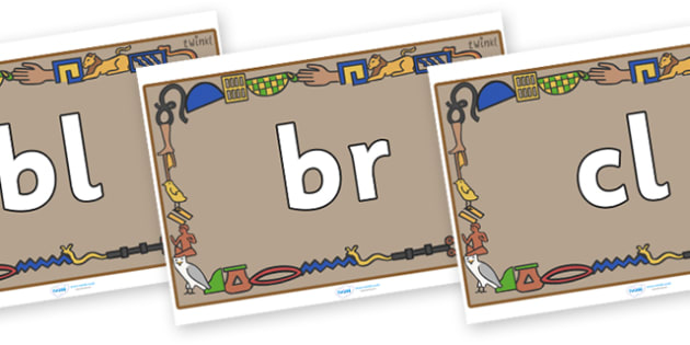 Initial Letter Blends on Egyptian Bricks - Initial Letters, initial letter, letter blend, letter blends, consonant, consonants, digraph, trigraph, literacy, alphabet, letters, foundation stage literacy