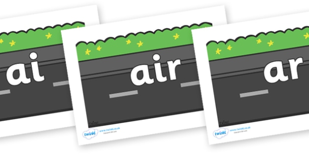 Phase 3 Phonemes on Roads (Plain) - Phonemes, phoneme, Phase 3, Phase three, Foundation, Literacy, Letters and Sounds, DfES, display