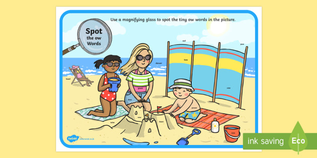 Phase 3 ow Words Beach Scene Magnifying Glass Activity Sheet - phonics, letters and sounds, phase 3, ow sound, magnifier, magnifying glass, find, activity, group,