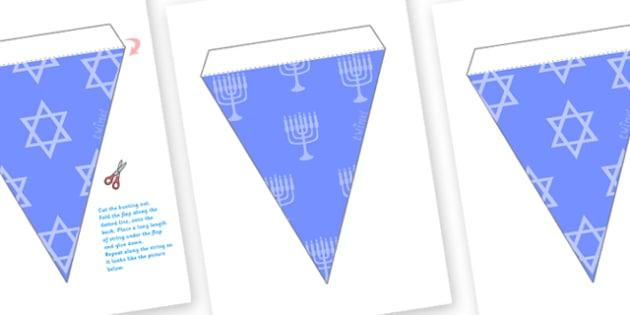 Hanukkah Bunting - bunting, decorations, hanukkah, celebration, festival of lights, jewish holiday, classroom decorations, for decorating your classroom