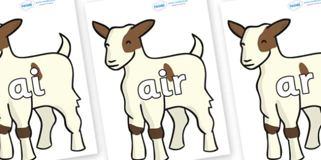 Phase 3 Phonemes on Baby Goats - Phonemes, phoneme, Phase 3, Phase three, Foundation, Literacy, Letters and Sounds, DfES, display