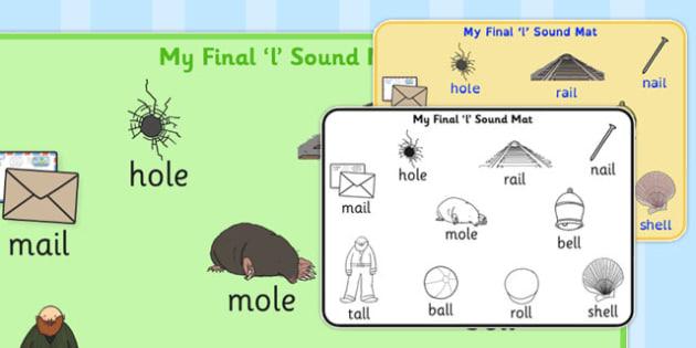 Final 'L' Sound Word Mat - final l, sound, word mat, word, mat