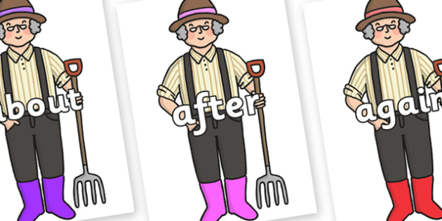 KS1 Keywords on Enormous Turnip Farmer - KS1, CLL, Communication language and literacy, Display, Key words, high frequency words, foundation stage literacy, DfES Letters and Sounds, Letters and Sounds, spelling