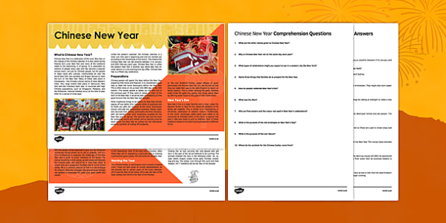 Chinese New Year Reading Comprehension Activity - Chinese New Year, Comprehension, reading, KS2, KS3