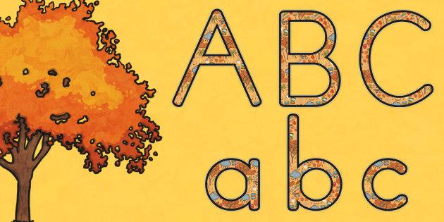Autumn Display Lettering Uppercase - seasons, weather, display