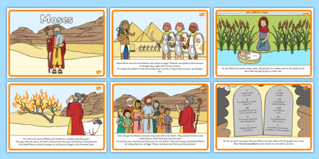 Moses Story Sequencing (A4) - Moses, Egypt, Hebrews, slaves, Pharaoh, basket, God, sequencing, story sequencing, story resources, A4, cards, palace, shepherd, burning bush, plague, Primised Land, law, stone, ten commandments, bible, bible story