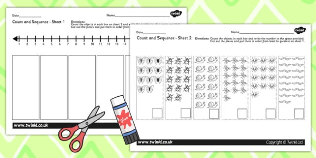 Minibeast Themed Count and Sequence Cut and Stick Activity