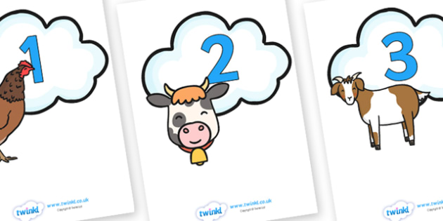 Numbers 0-20 on Animals - Foundation Numeracy, Number recognition, Number flashcards
