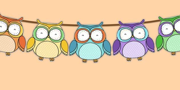 Cute Owl Themed Bunting - cute owl, bunting, display bunting, display