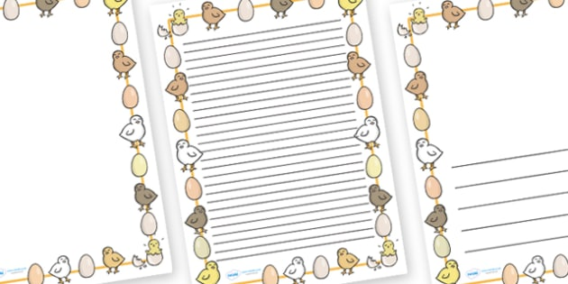 Chick And Eggs A4 Page Borders Chick And Eggs Easter