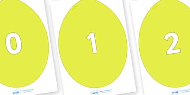Numbers 0-50 on Golden Eggs - 0-50, foundation stage numeracy, Number recognition, Number flashcards, counting, number frieze, Display numbers, number posters