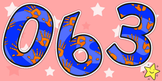 Orange and Blue Handprint Themed Display Numbers - numbers