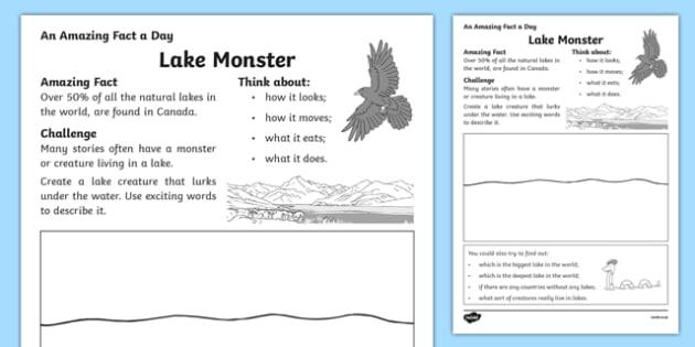 Lake Monster Activity Sheet, worksheet