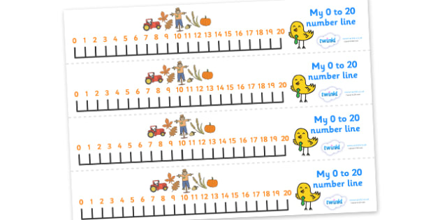 Autumn Number Line (0-20) - Counting, Numberline, Number line, Counting on, Counting back, Autumn, seasons, autumn pictures, autumn display, leaves, acorn, conker