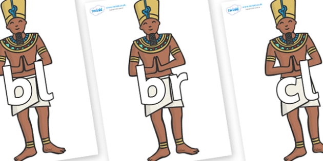 Initial Letter Blends on Egyptian Priests - Initial Letters, initial letter, letter blend, letter blends, consonant, consonants, digraph, trigraph, literacy, alphabet, letters, foundation stage literacy