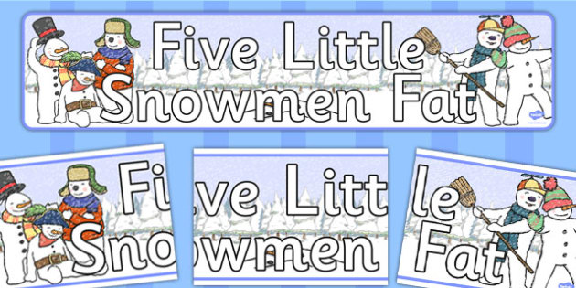 Five Little Snowmen Fat Display Banner - banners, displays, snow