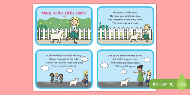 Mary Had a Little Lamb Nursery Rhyme Sequencing Cards - mary had a little lamb, nursery rhyme, rhyme, sequencing cards