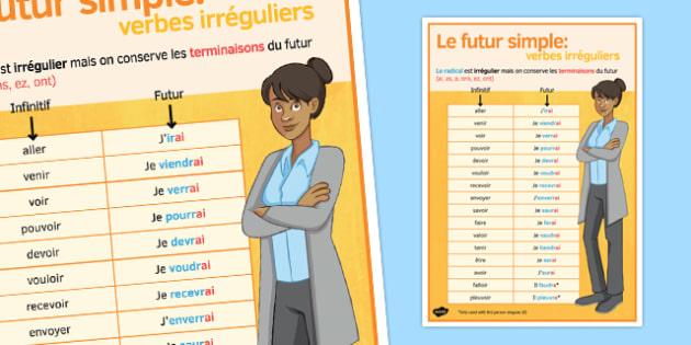 Le  futur verbes irréguliers Poster - french, future tense, irregular, verbs, classroom, display poster