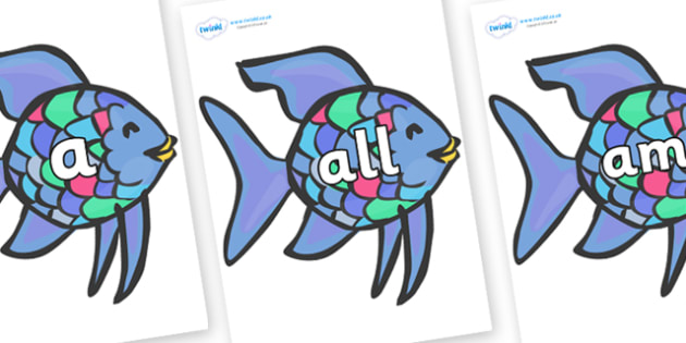 Foundation Stage 2 Keywords on Rainbow Fish to Support Teaching on The Rainbow Fish - FS2, CLL, keywords, Communication language and literacy,  Display, Key words, high frequency words, foundation stage literacy, DfES Letters and Sounds, Letters and